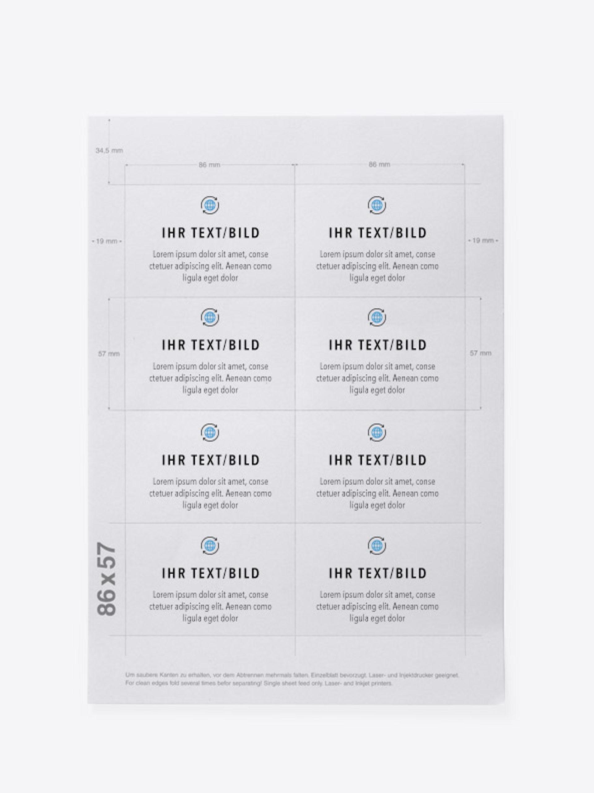 Bedruckbare Namensschilder Papier Businesscard Muster
