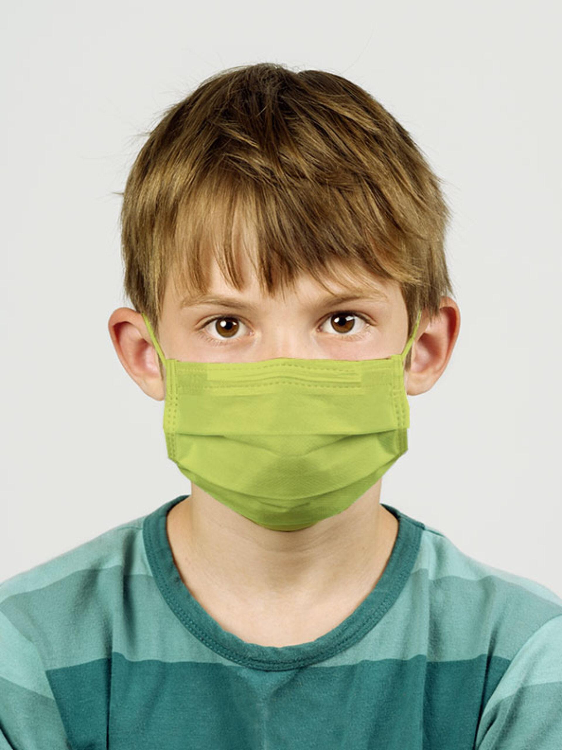 Einwegmaske Schutzmaske Farbig Kinder Gruen