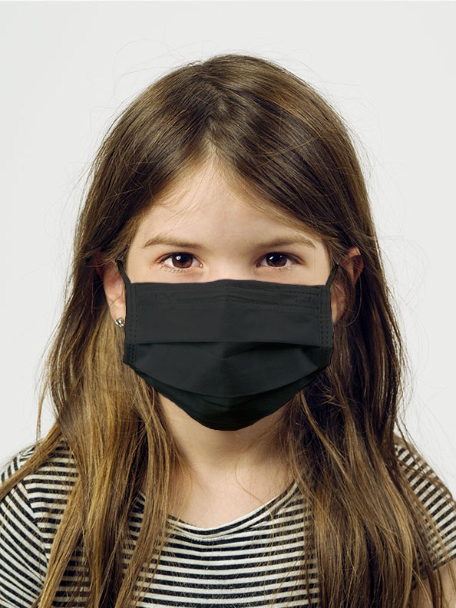 Einwegmaske Schutzmaske Kinder Schwarz