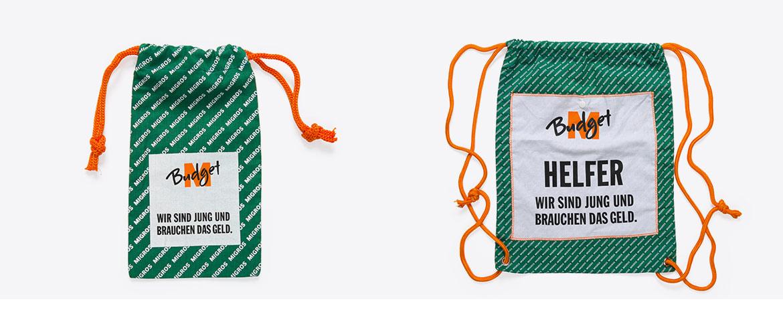 Kordeltasche und Gym Bag mit Alloverprint und passenden Kordeln.