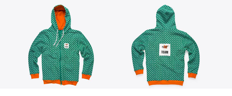 Zip-Hoodie Siebdruck Alloverprint mit Kontrastbündchen und gewobener Etikette