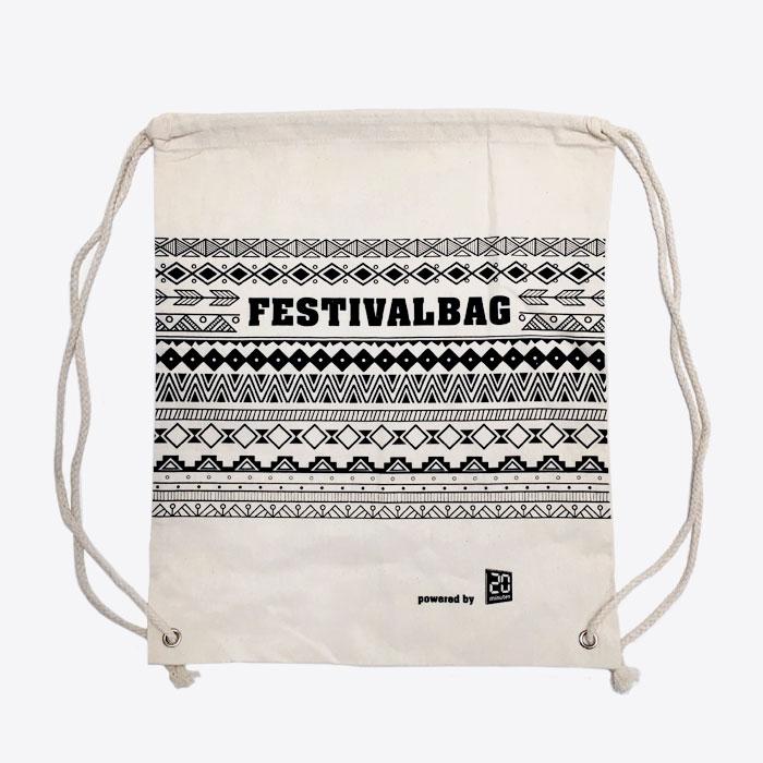 Gym Bag bedruckt: Festival Bag 20minuten