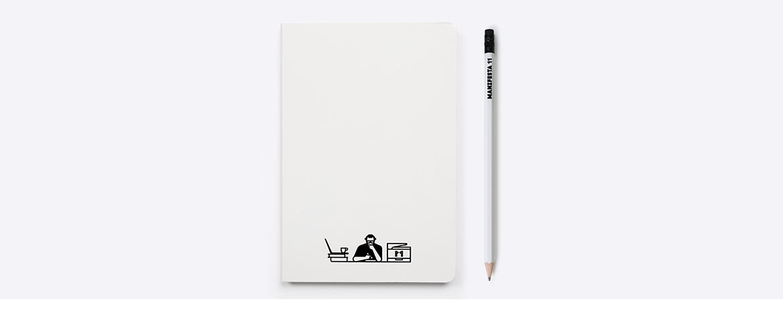 Notizbuch und Bleistift mit Logo bedruckt