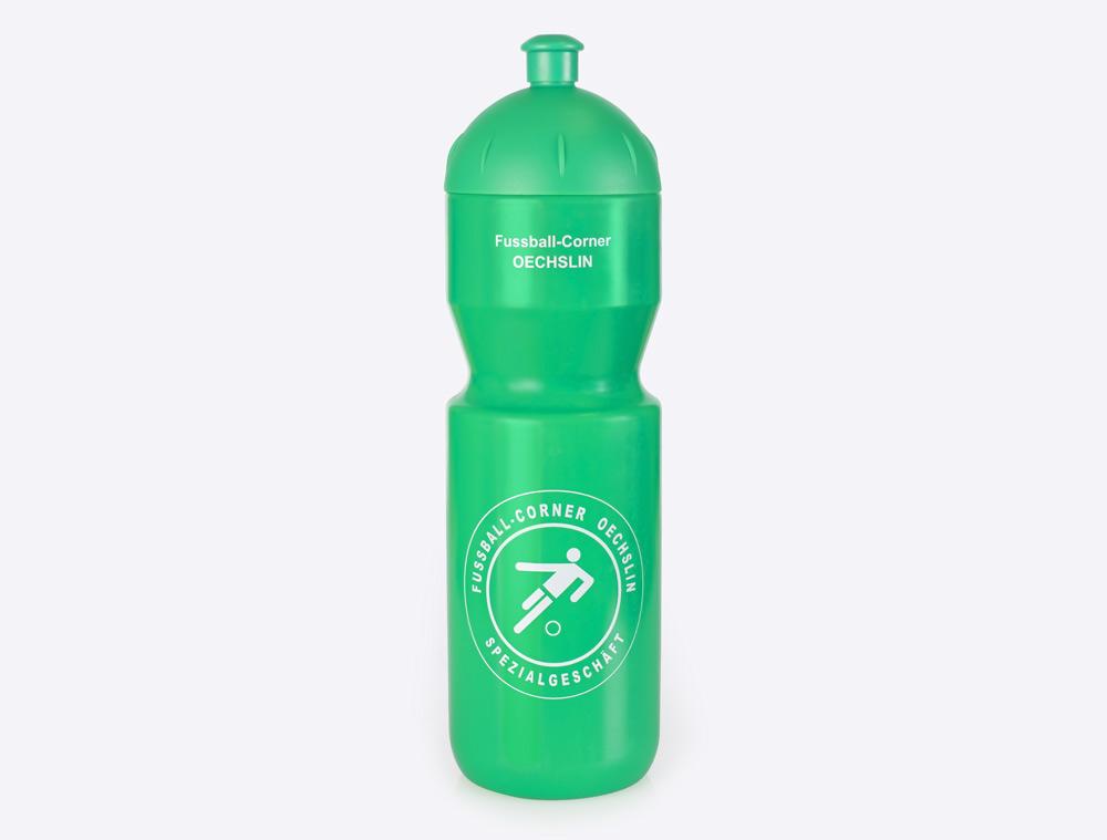 Trinkflasche Fussball mit Logo bedruckt
