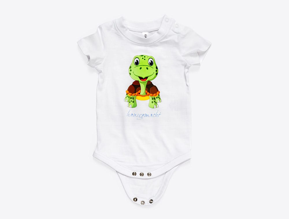 Bedruckter Baby Body mit Logo