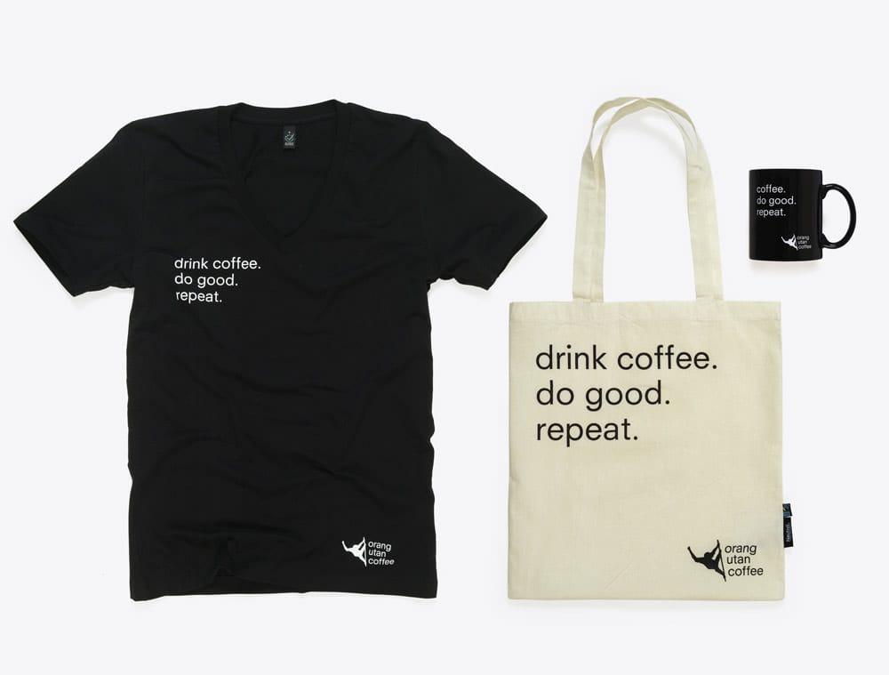Merchandising mit Loge bedruckt Orang Utan Coffee