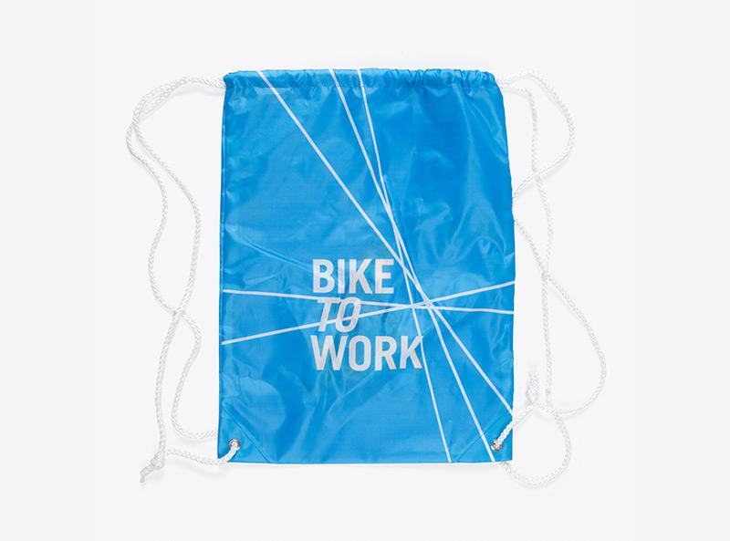 Gymbag mit Logo bedruckt Bike to Work