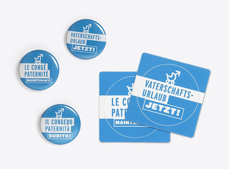 Kampagnenmaterial Vaterschaftsurlaub Travail Suisse Button Anhaenger