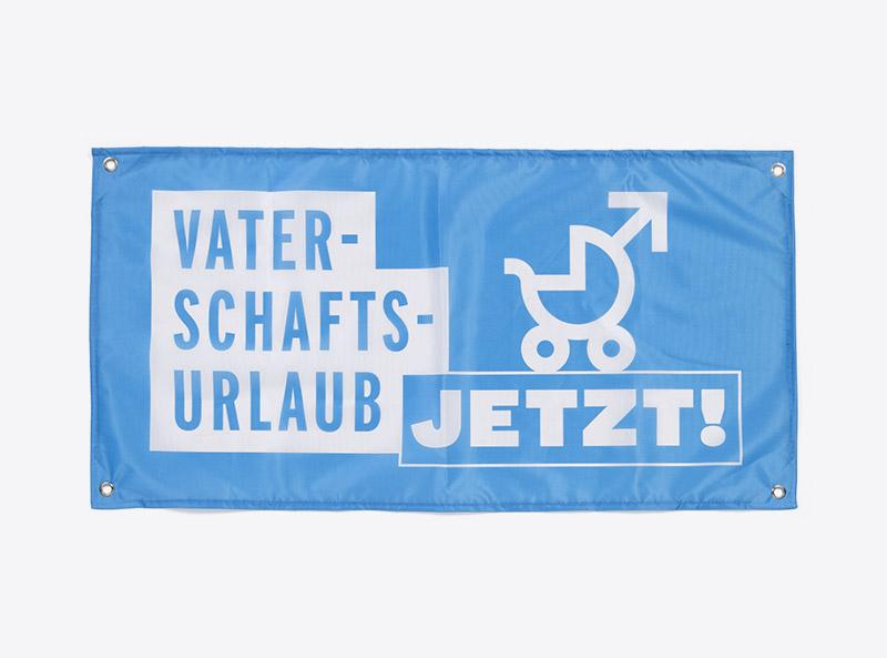Kampagnenmaterial Vaterschaftsurlaub Travail Suisse Fahne