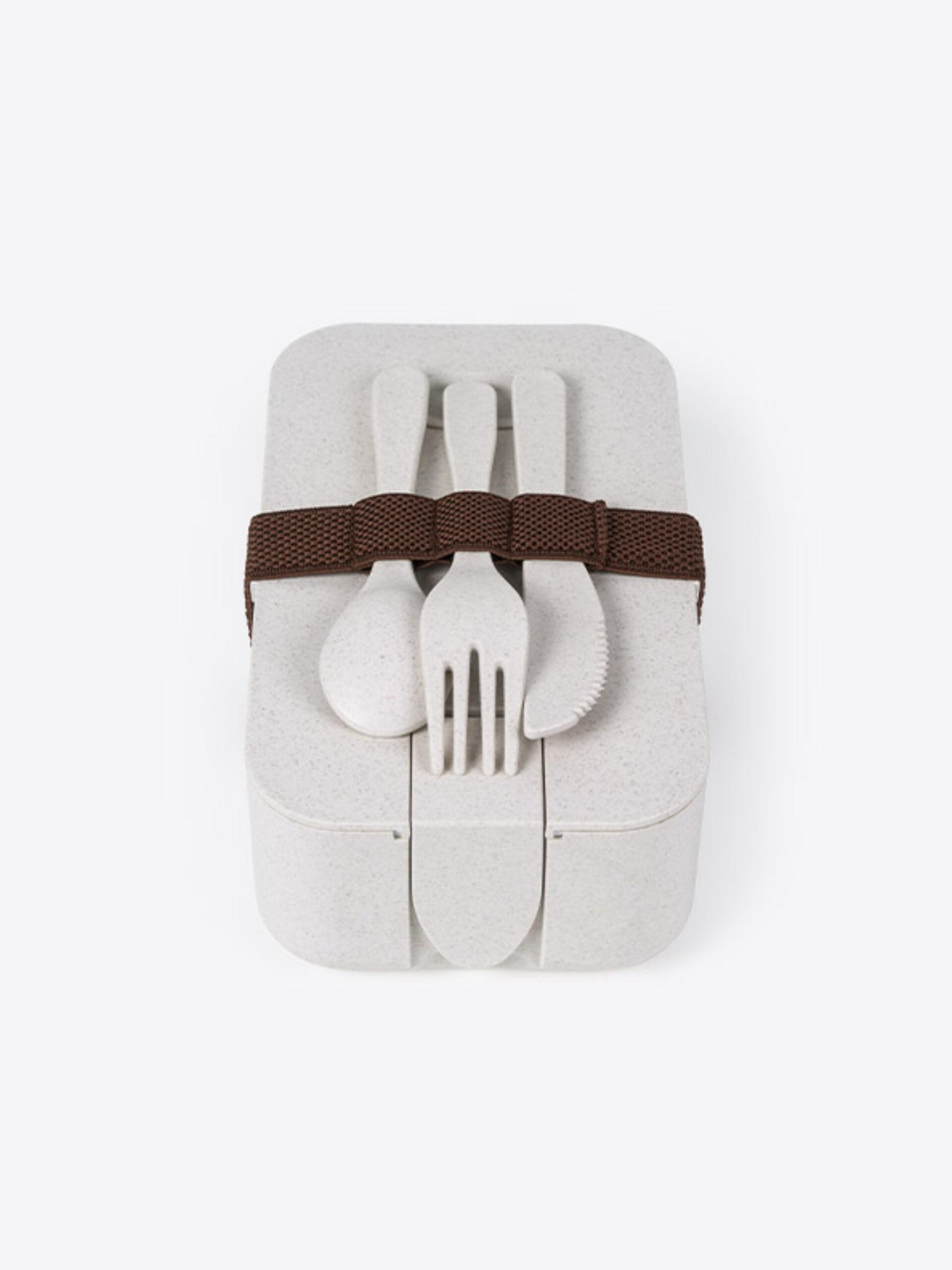 Lunch Box Eco Plus Mit Logo Bedrucken 3 Frontal Mit Besteck