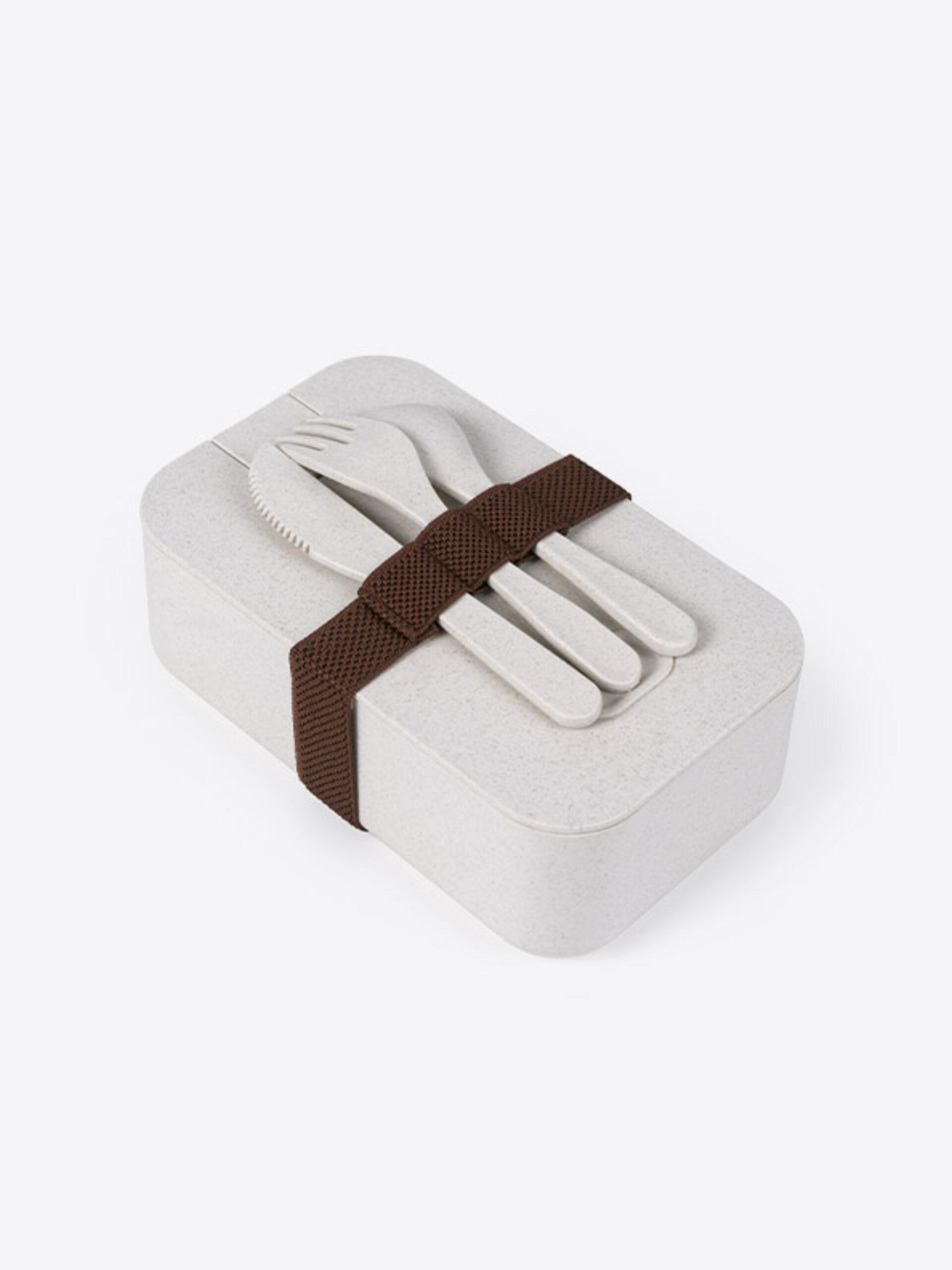 Lunch Box Eco Plus Mit Logo Bedrucken 3 Oben Mit Besteck