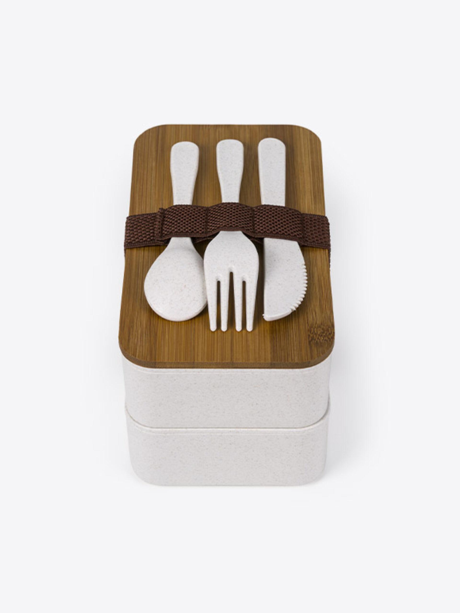 Lunch Box Eco Premium Mit Logo Bedrucken 4 Frontal Mit Besteck
