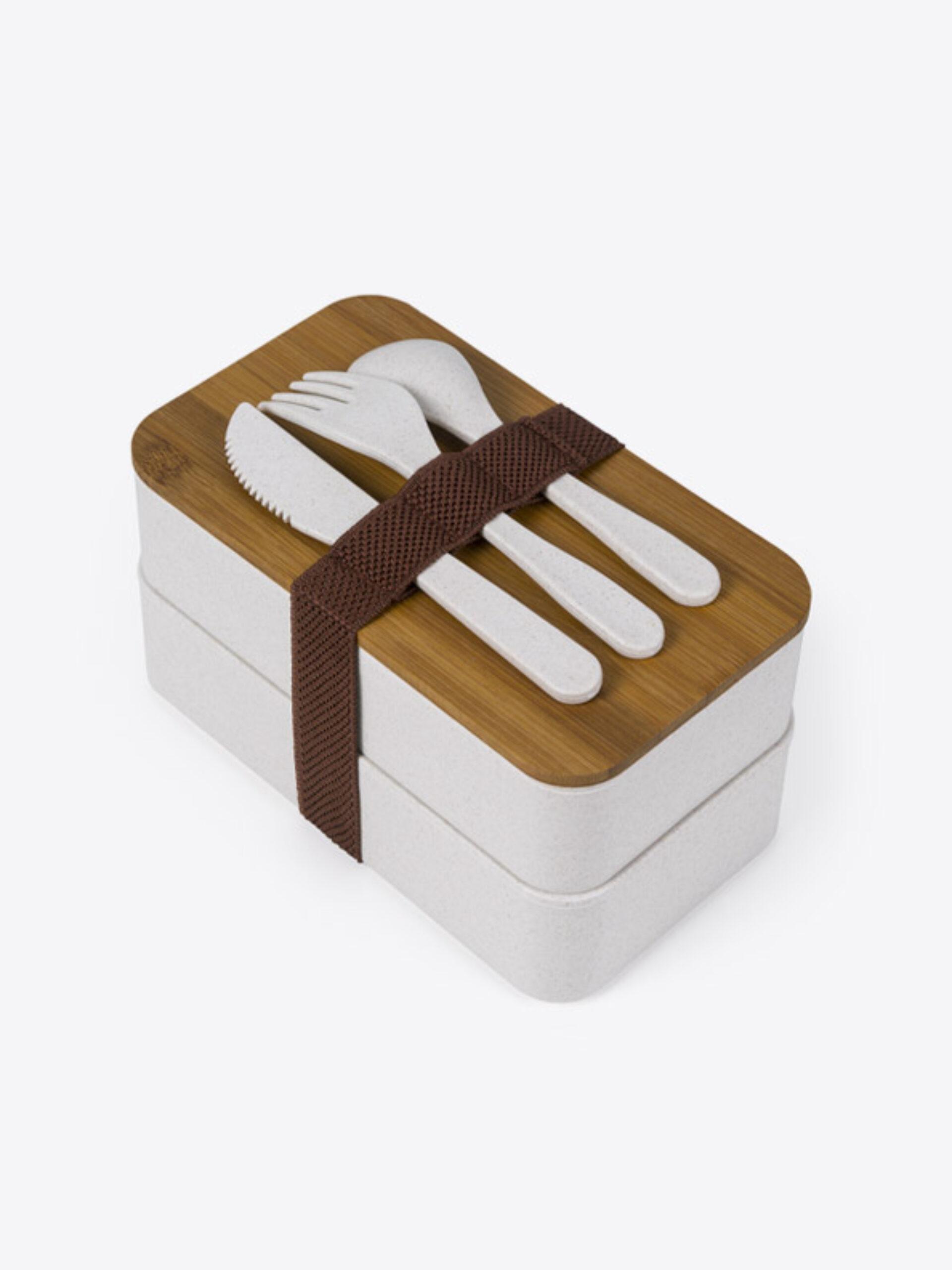 Lunch Box Eco Premium Mit Logo Bedrucken 4 Oben Mit Besteck