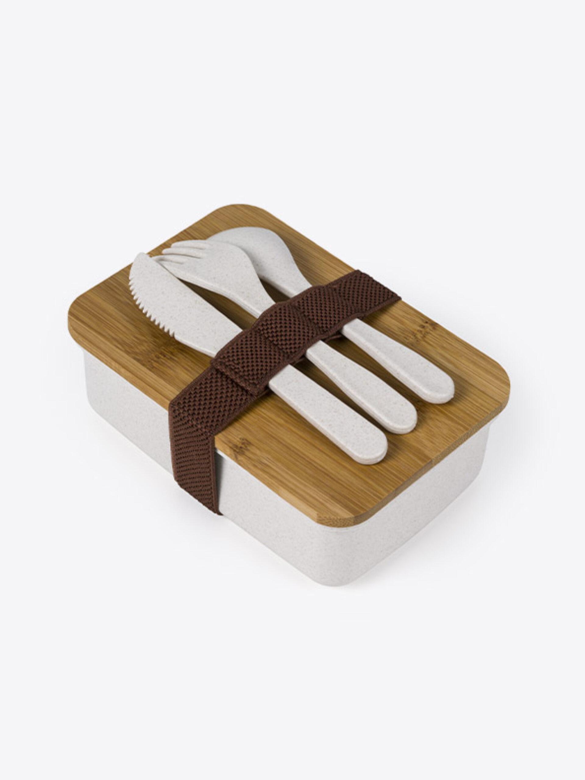 Lunch Box Eco Standard Mit Logo Bedrucken 2 Oben Mit Besteck