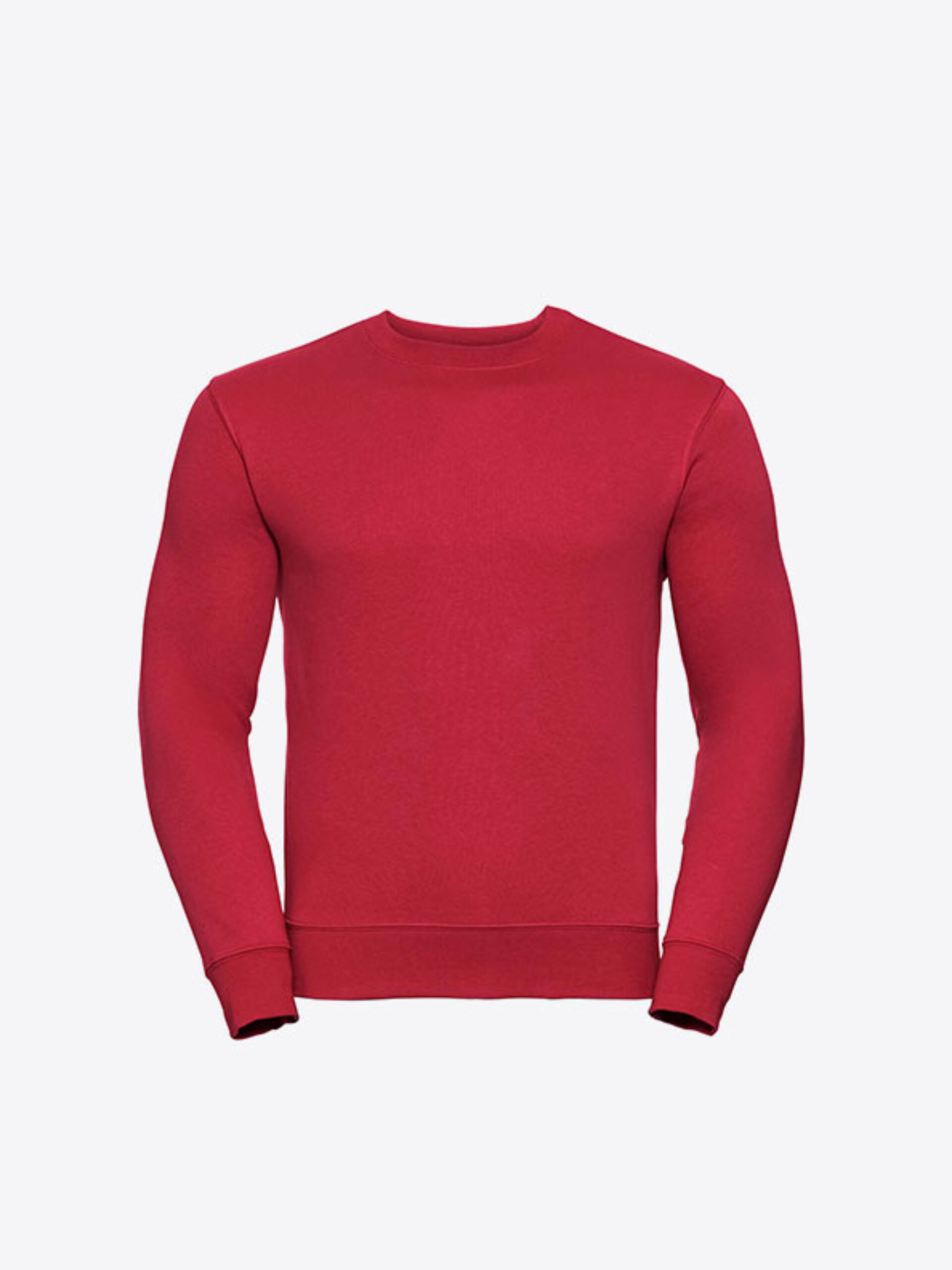Rundhals Sweater Unisex Budget Russell 262M Mit Logo Siebdruck Classic Red