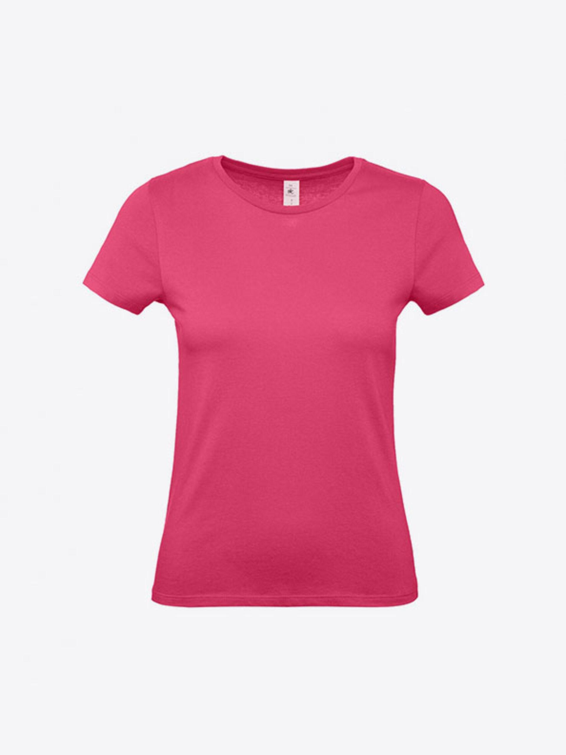 T Shirt B&C E150 Damen Budget Baumwolle Mit Logo Siebdruck Fuchsia