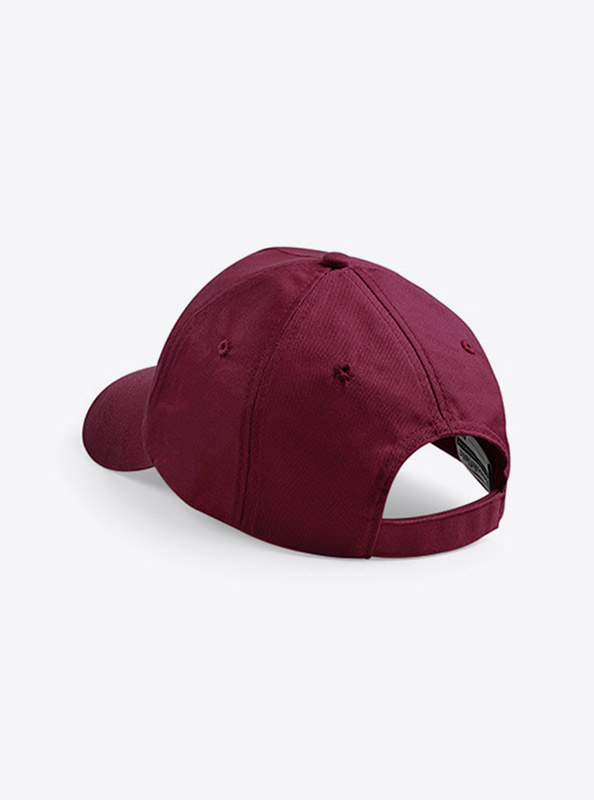 Baseball Cap Bedrucken Oder Besticken Mit Logo Beechfield B10 Farbe Burugndy Hinten Verschluss