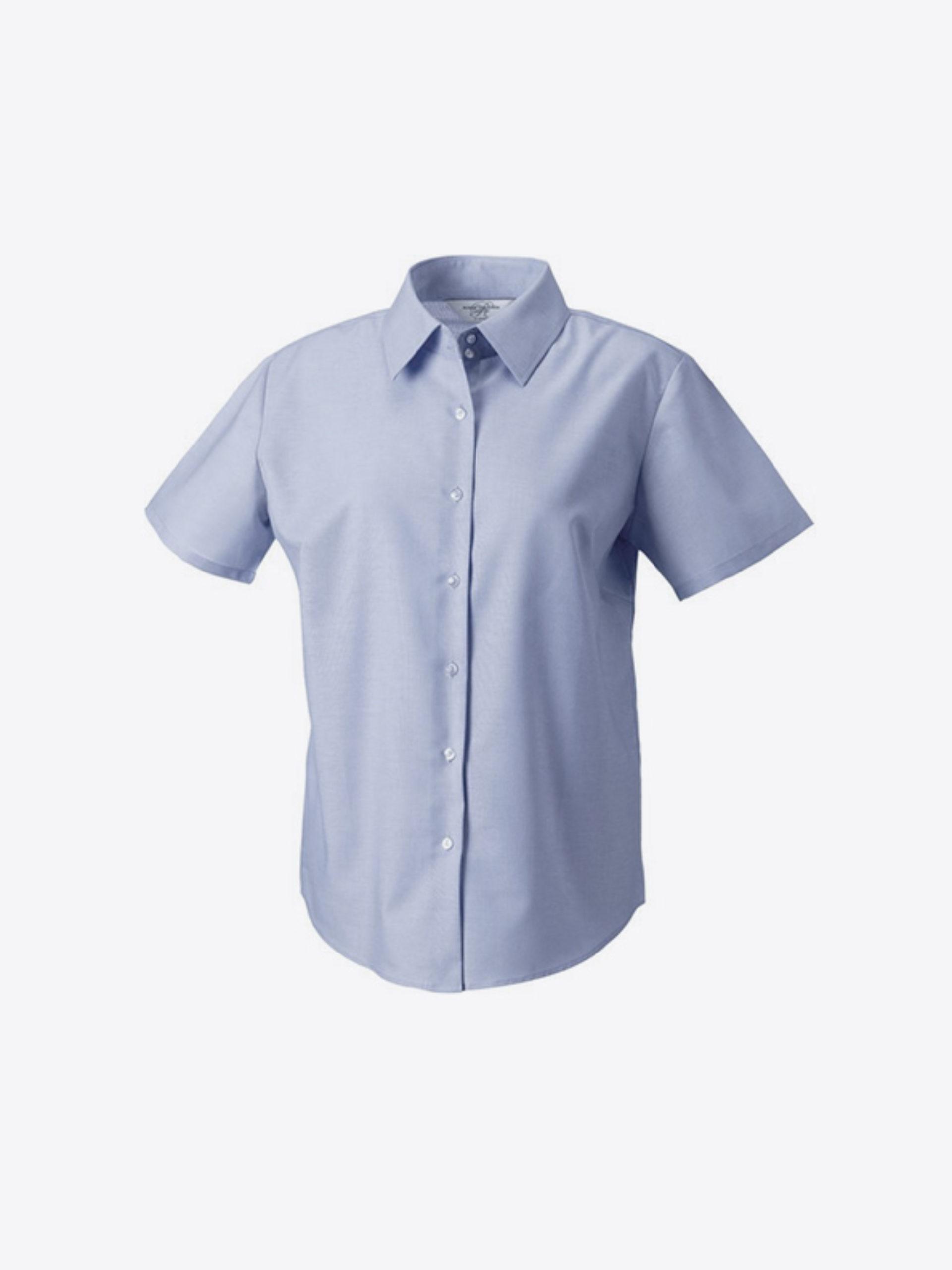 Damen Hemd Kurzarm Mit Logo Drucken Besticken Russell 933f Farbe Oxford Blue
