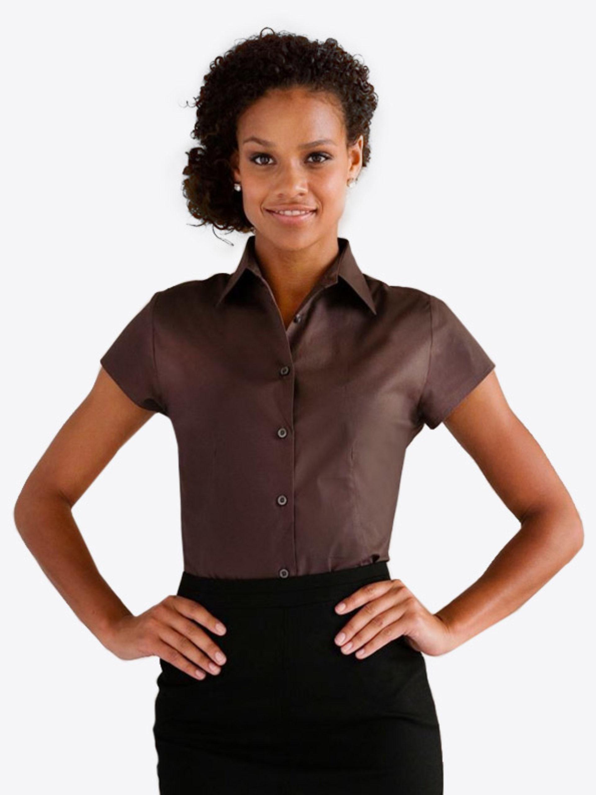 Damen Hemd Kurzarm Mit Logo Drucken Besticken Russell 947f