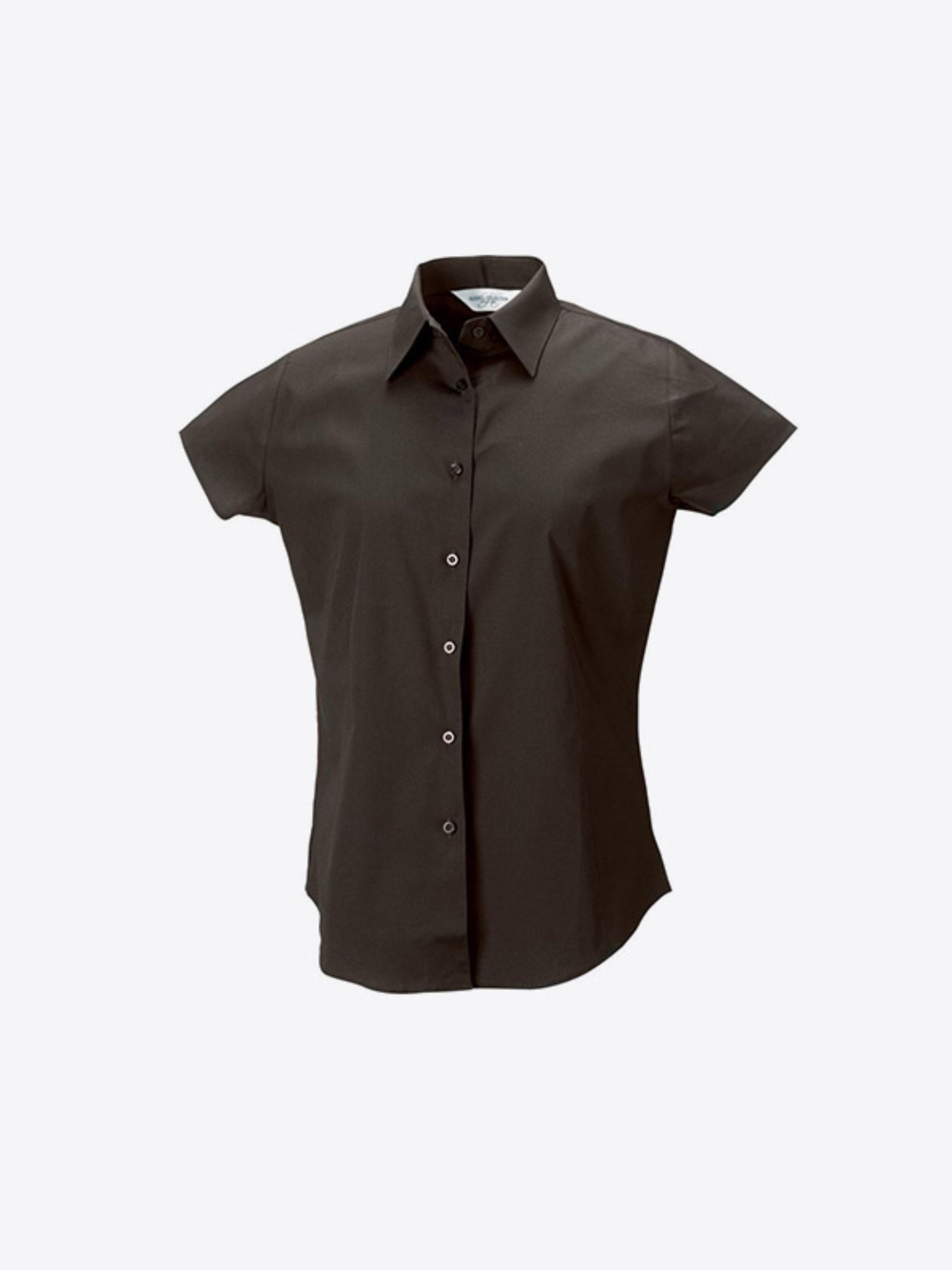Damen Hemd Kurzarm Mit Logo Drucken Besticken Russell 947f Farbe Chocolate