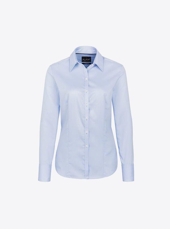 Damen Hemd Langarm Mit Logo Bedrucken Besticken Hakro 102 Farbe Sky