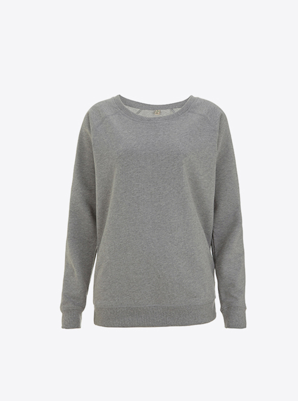 Damen Pullover In Der Schweiz Bedrucken Oder Besticken Rundhals Bio Baumwolle Earth Positiv Ep66 Light Heather