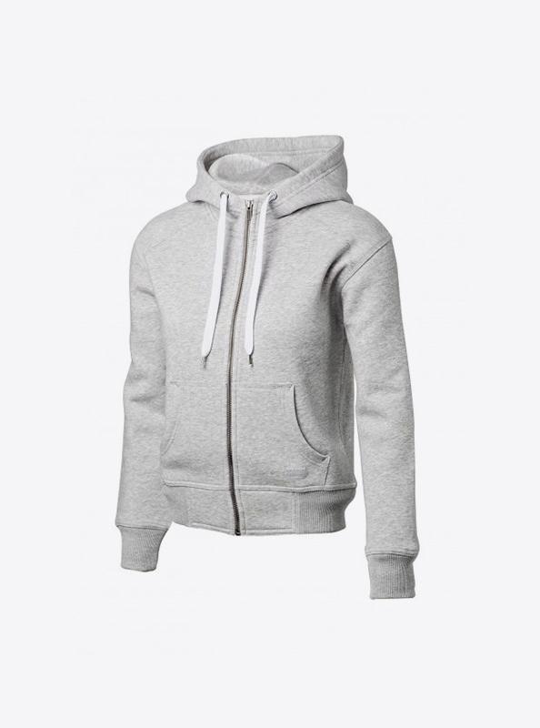 Damen Sweatshirt Besticken Lassen In Zuerich Zip Hoodie Nimbus Stanford Grey Melange