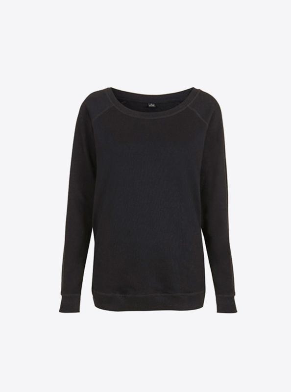 Damen Sweatshirt Besticken Rundhals Bio Baumwolle Earth Positiv Ep66 Black