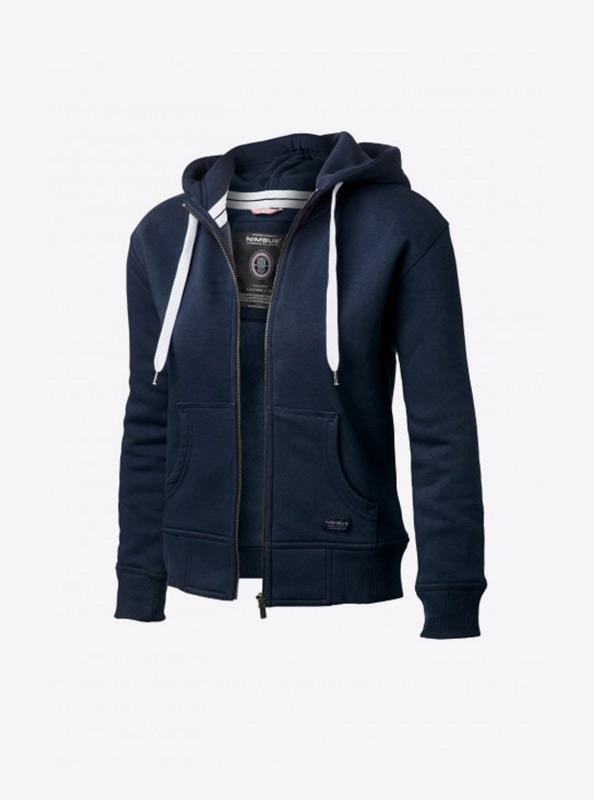 Damen Sweatshirt Zip Hoodie Bedrucken Nimbus Stanford Navy Vorne