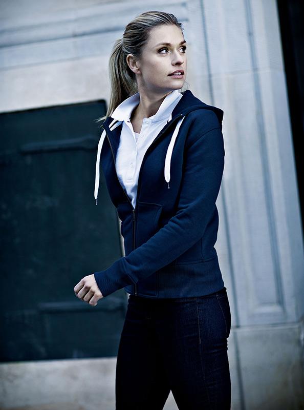 Damen Sweatshirt Zip Hoodie Mit Siebdruck Bedrucken Nimbus Stanford Navy