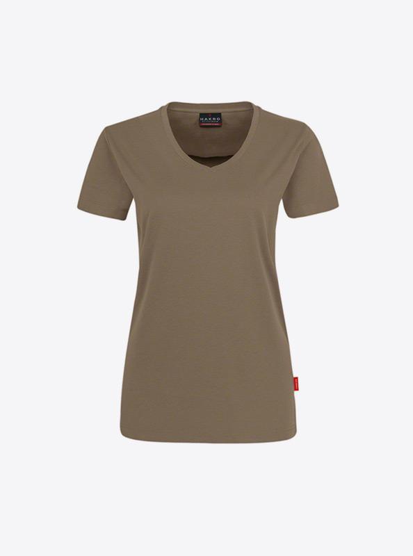 Damen T Shirt Mit Flockdruck Bedrucken Hakro 181 Nougat