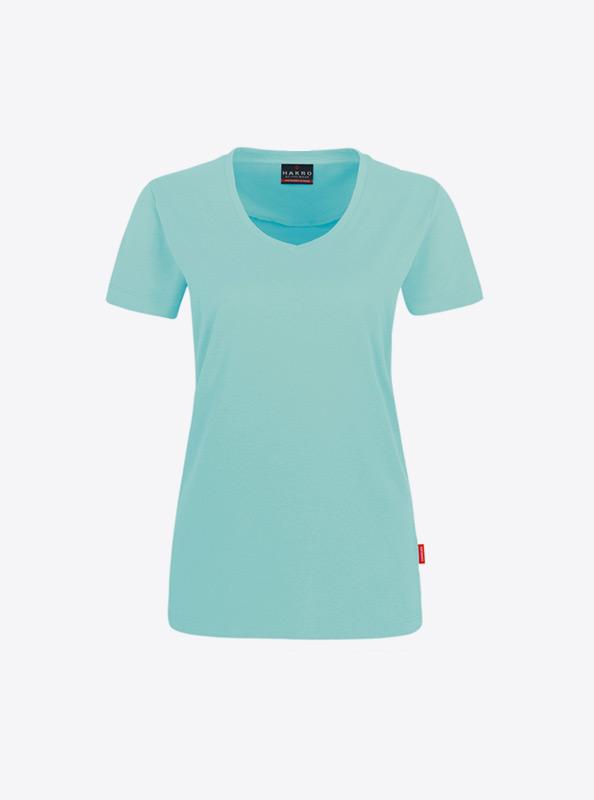 Damen T Shirt Mit V Ausschnitt Bedrucken Lassen Mit Logo Hakro 181 Ice Green
