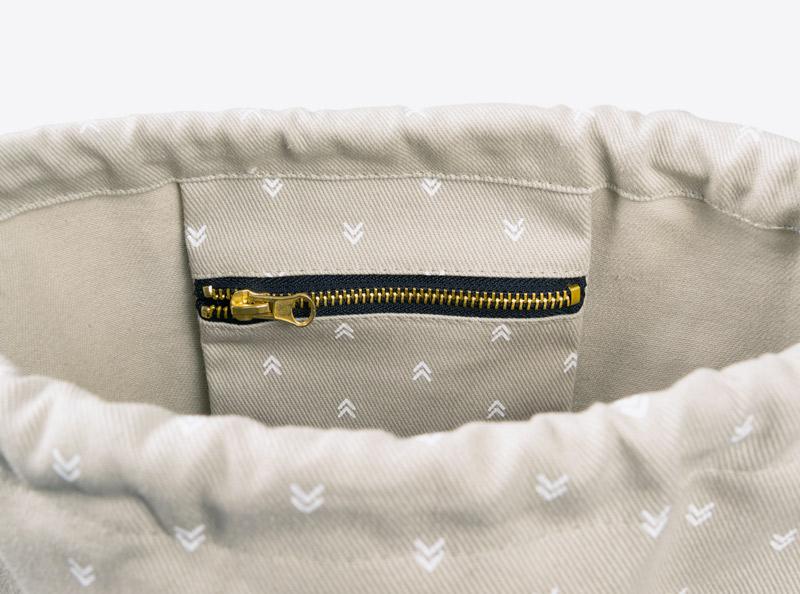 Innentasche bedruckt mit Reisverschluss