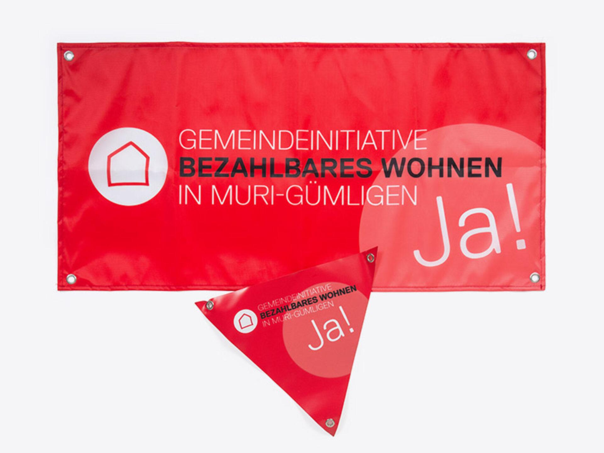 Fahne Velodreieck Kampagnenmaterial für Gemeindeinitiative Muri Guemligen