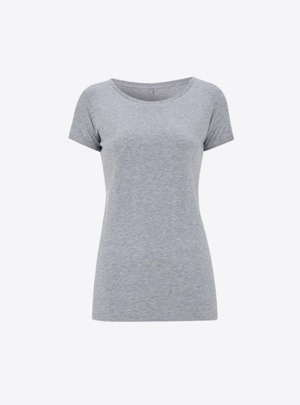 Frauen T Shirt Farbig Drucken Mit Logo Continental N09 Melange Grey