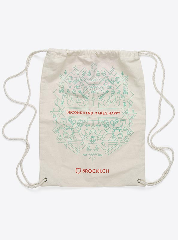 Gym Bag Baumwolle Bedruckt Design Brocki