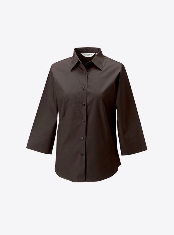 Hemd Damen Drucken Besticken Russell 946f Farbe Chocolate