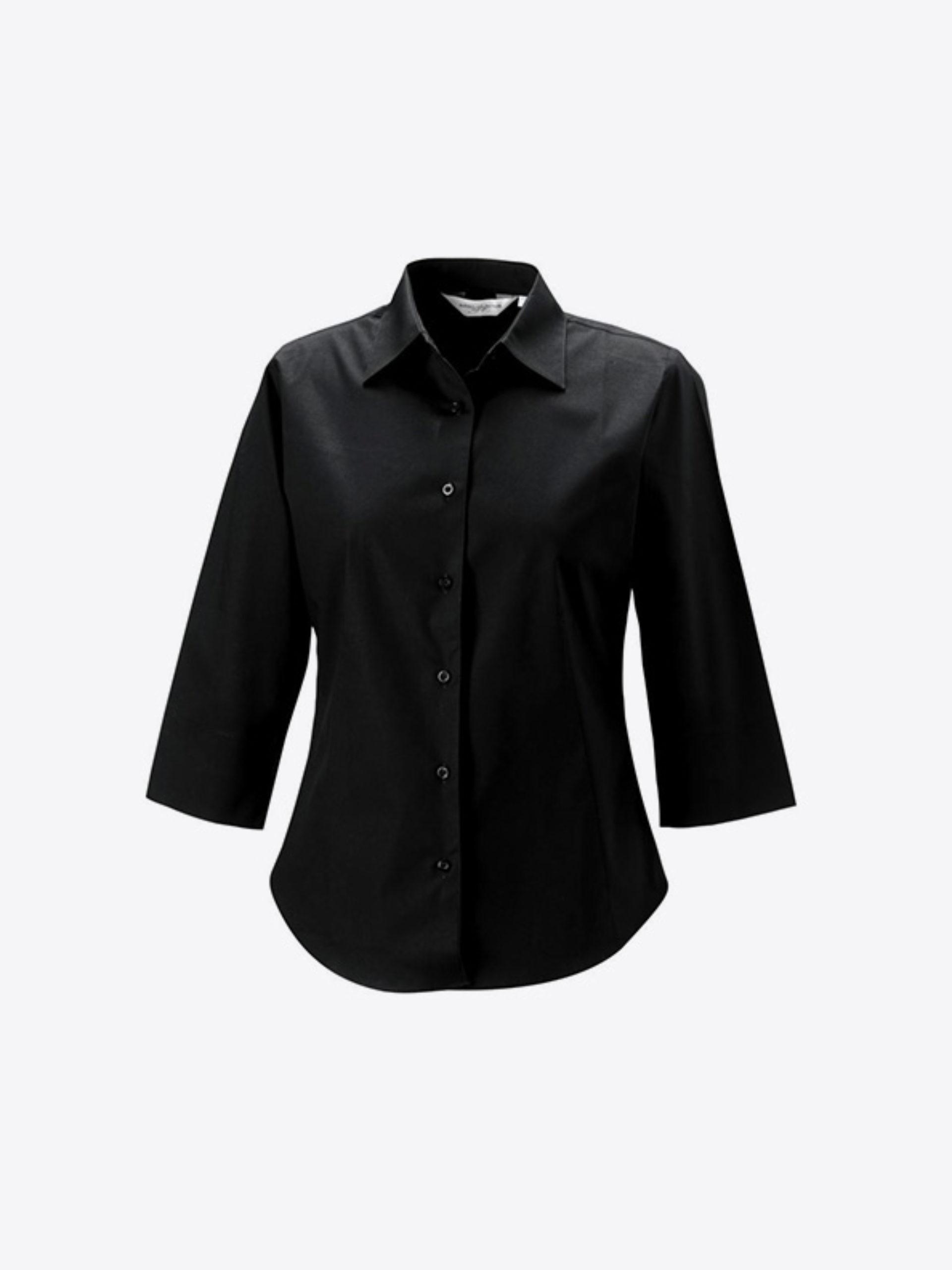 Hemd Damen Drucken Halblange Aermel Besticken Russell 946f Farbe Black