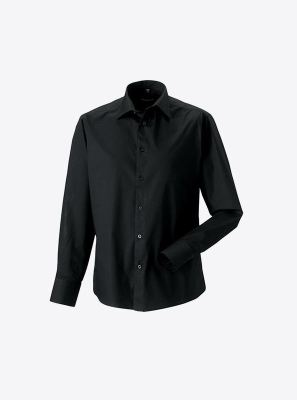 Hemd Herren Langarm Drucken Besticken Russell 946m Farbe Black