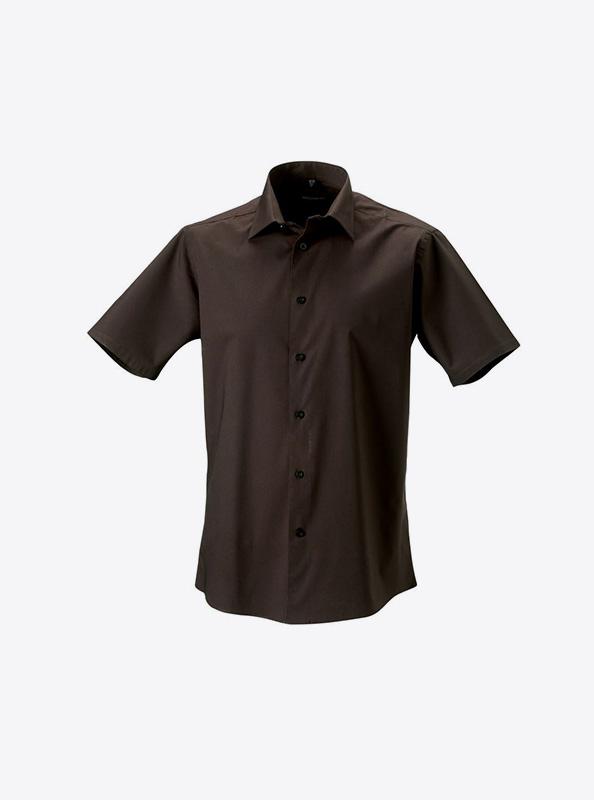Hemd Kurzarm Fuer Herren Mit Logo Drucken Oder Besticken Russell 947m Farbe Chocolate