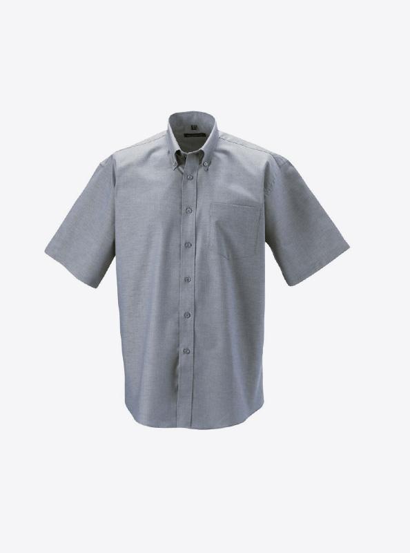 Herren Hemd Kurzarm Mit Logo Bedrucken Besticken Russell 933m Farbe Silver