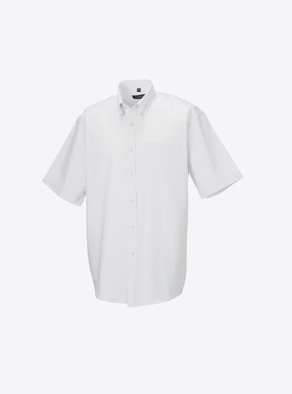 Herren Hemd Kurzarm Mit Logo Bedrucken Besticken Russell 933m Farbe White
