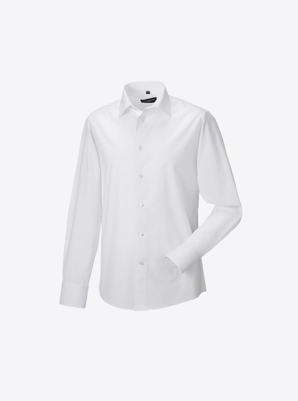 Herren Hemd Langarm Drucken 946m Farbe White