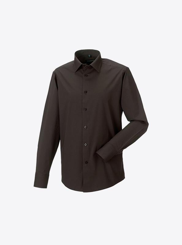 Herren Hemd Langarm Mit Logo Drucken Besticken Russell 946m Farbe Chocolate
