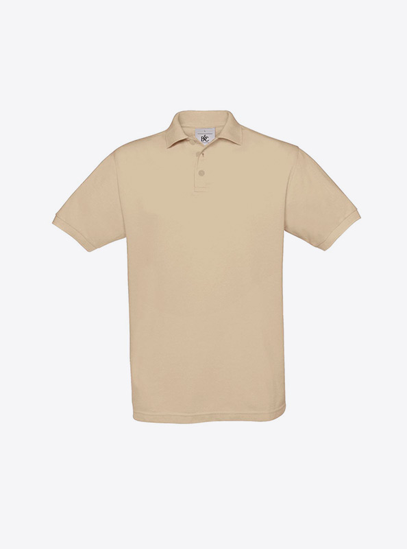 Herren Polo Shirt Auf Kragen Besticken Bundc Safran Pu409 Sand