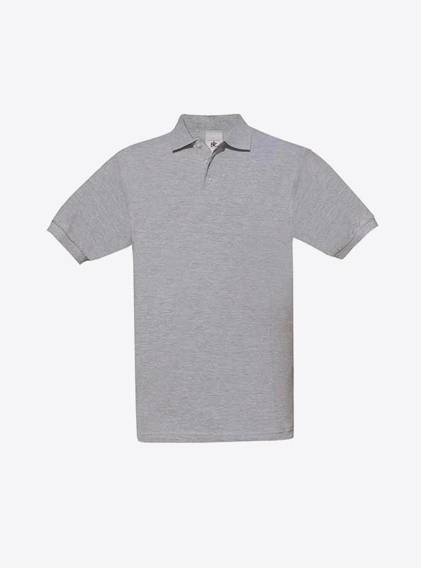 Herren Polo Shirt Bedrucken Auf Ruecken Bundc Safran Pu409 Heather Grey