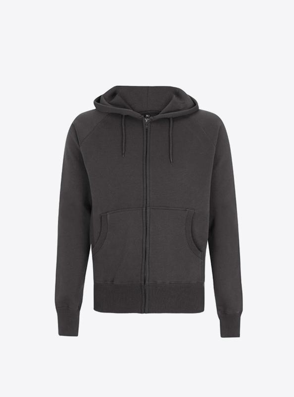 Herren Sweatshirt Mit Siebdruck Bedrucken Lassen Zip Hoodie Continental N51z Charcoal Grey