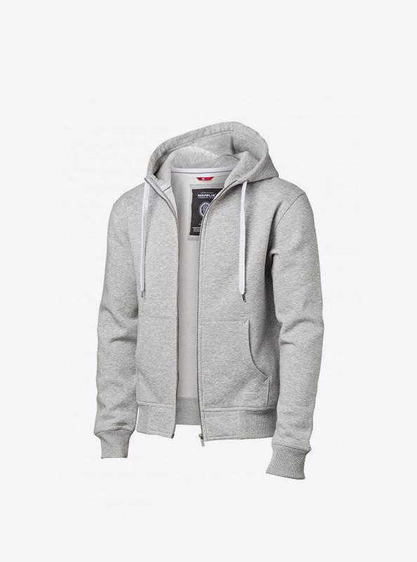 Herren Sweatshirt Zip Hoodie Besticken Nimbus Stanford Grey Melange Vorne