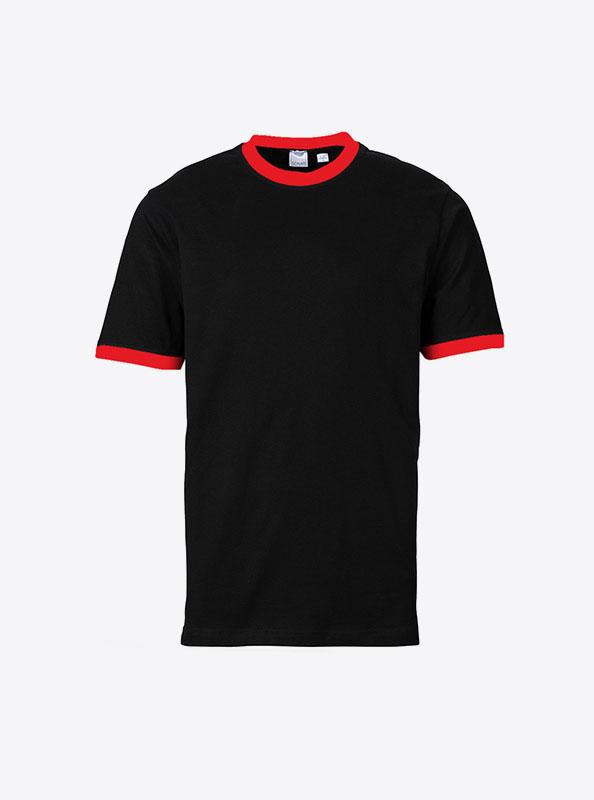 Herren T Shirt Mit Logo Bedrucken Sonar Soccer 2082 Black Red