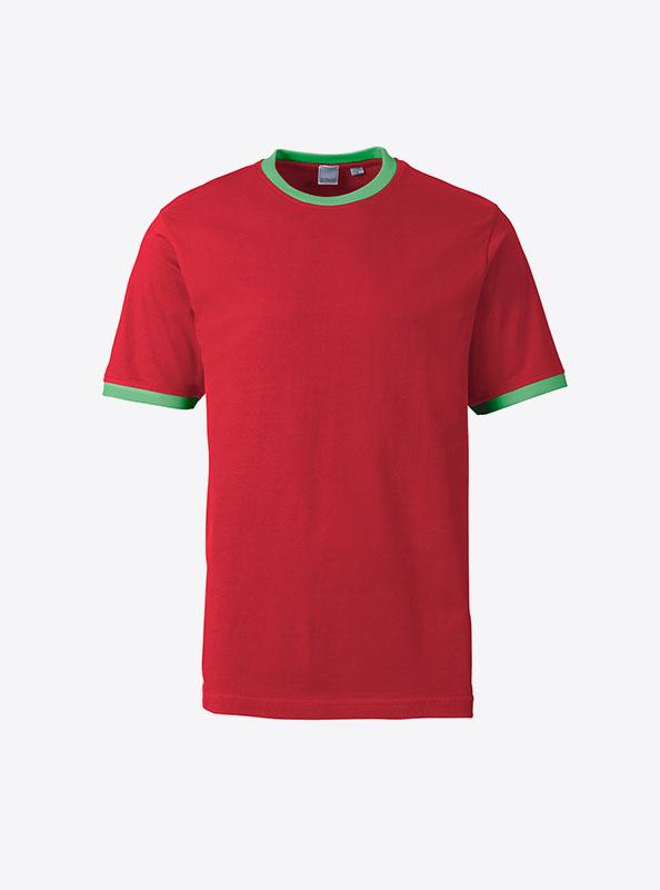 Herren T Shirt Mit Logo Drucken Fuer Verein Sonar Soccer 2082 Red Green
